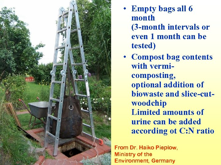 • Empty bags all 6 month (3 -month intervals or even 1 month