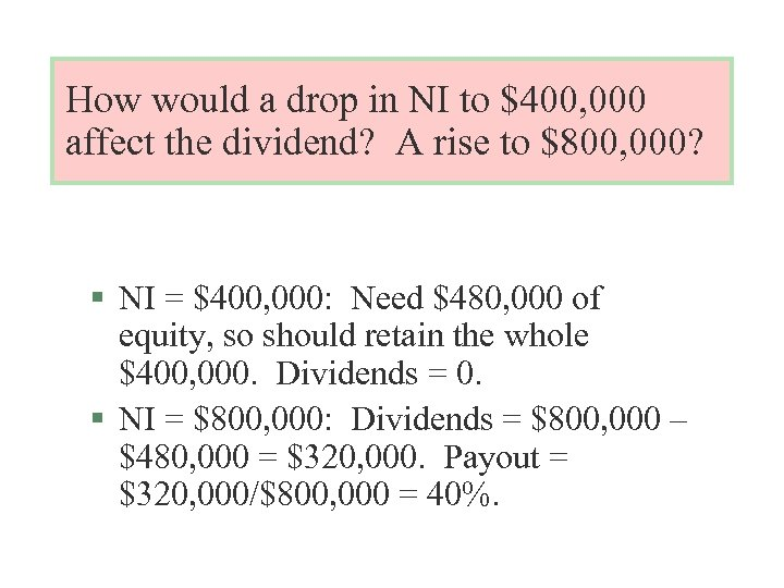 How would a drop in NI to $400, 000 affect the dividend? A rise
