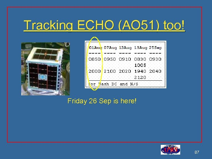 Tracking ECHO (AO 51) too! Friday 26 Sep is here! 87