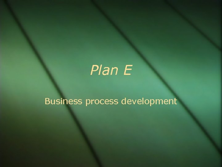 Plan E Business process development