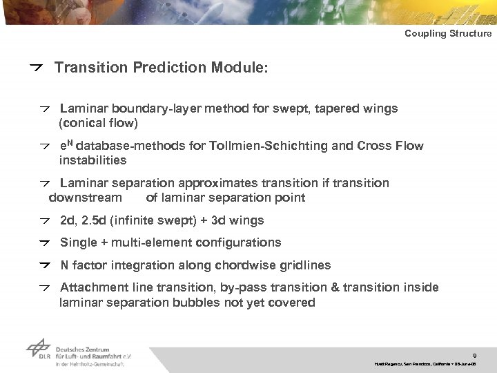 Coupling Structure Transition Prediction Module: Laminar boundary-layer method for swept, tapered wings (conical flow)