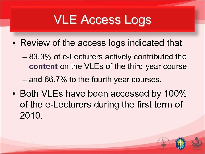 VLE Access Logs • Review of the access logs indicated that – 83. 3%
