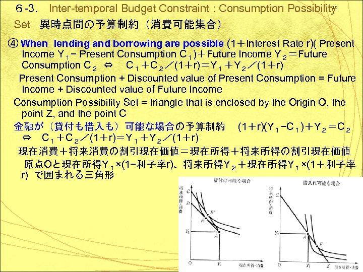 10 6 -3. Inter-temporal Budget Constraint : Consumption Possibility Set 異時点間の予算制約(消費可能集合) ④ When lending