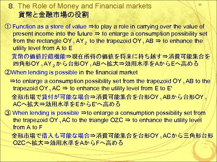 8.The Role of Money and Financial markets 貨幣と金融市場の役割 12 ① Function as a store