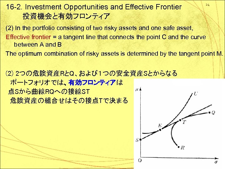 16 -2. Investment Opportunities and Effective Frontier  投資機会と有効フロンティア 24 (2) In the portfolio consisting