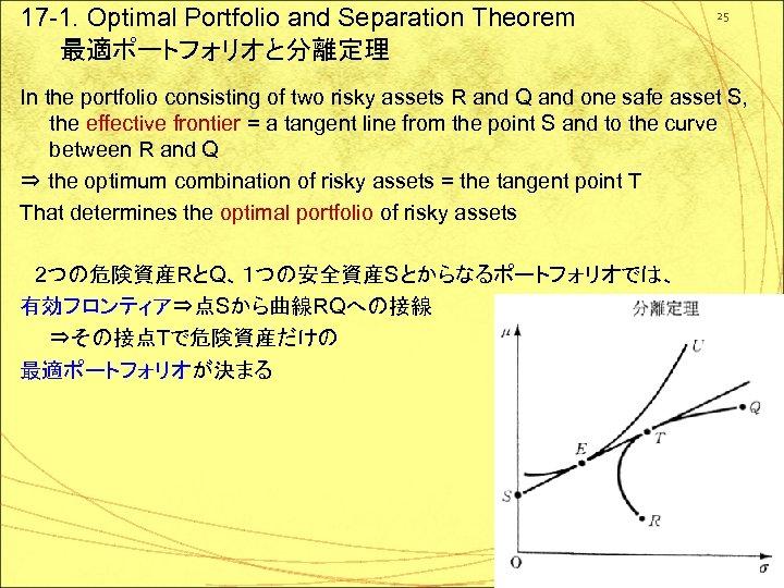 17 -1. Optimal Portfolio and Separation Theorem 最適ポートフォリオと分離定理 25 In the portfolio consisting of