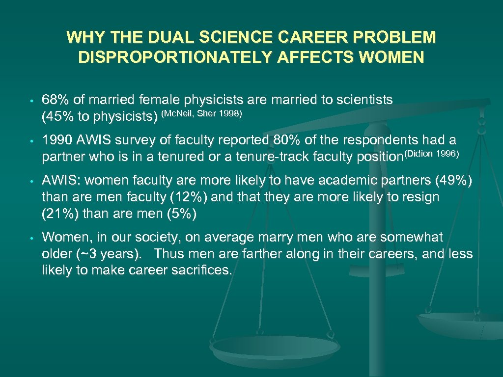 WHY THE DUAL SCIENCE CAREER PROBLEM DISPROPORTIONATELY AFFECTS WOMEN • 68% of married female