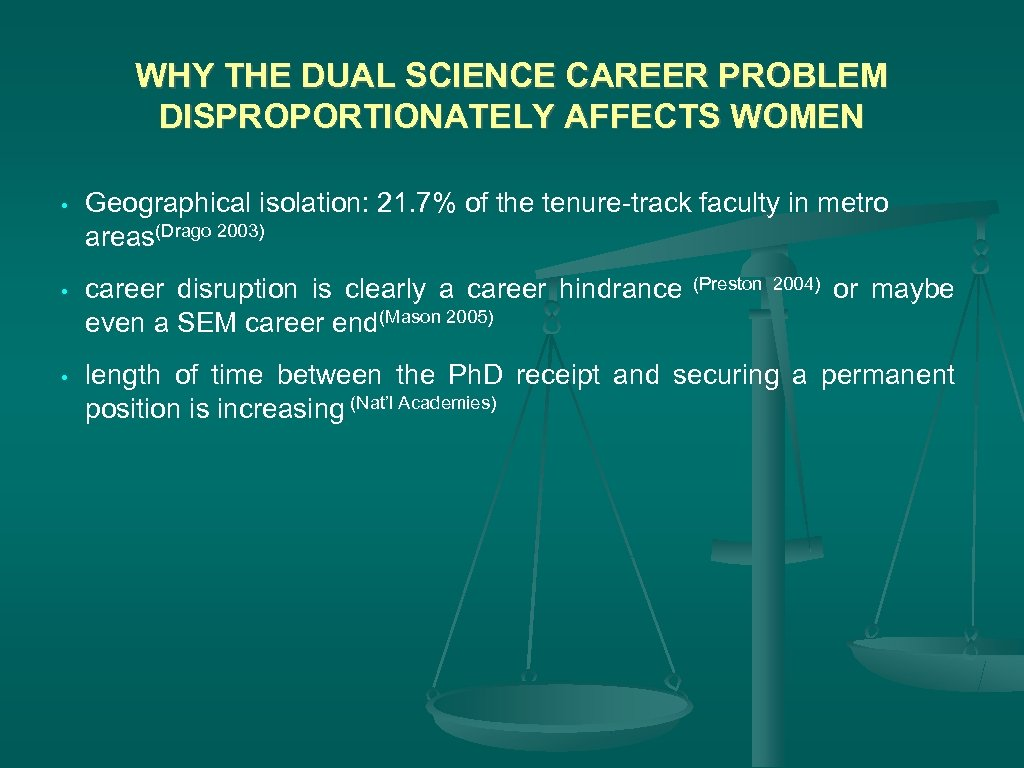 WHY THE DUAL SCIENCE CAREER PROBLEM DISPROPORTIONATELY AFFECTS WOMEN • Geographical isolation: 21. 7%
