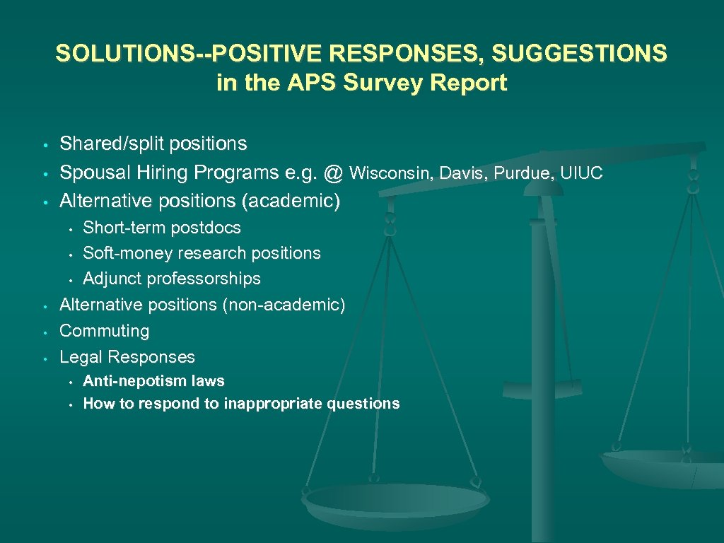 SOLUTIONS--POSITIVE RESPONSES, SUGGESTIONS in the APS Survey Report • • • Shared/split positions Spousal