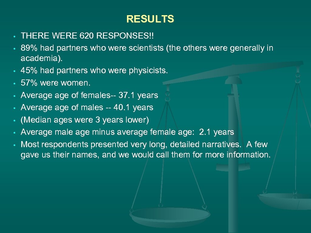 RESULTS • • • THERE WERE 620 RESPONSES!! 89% had partners who were scientists