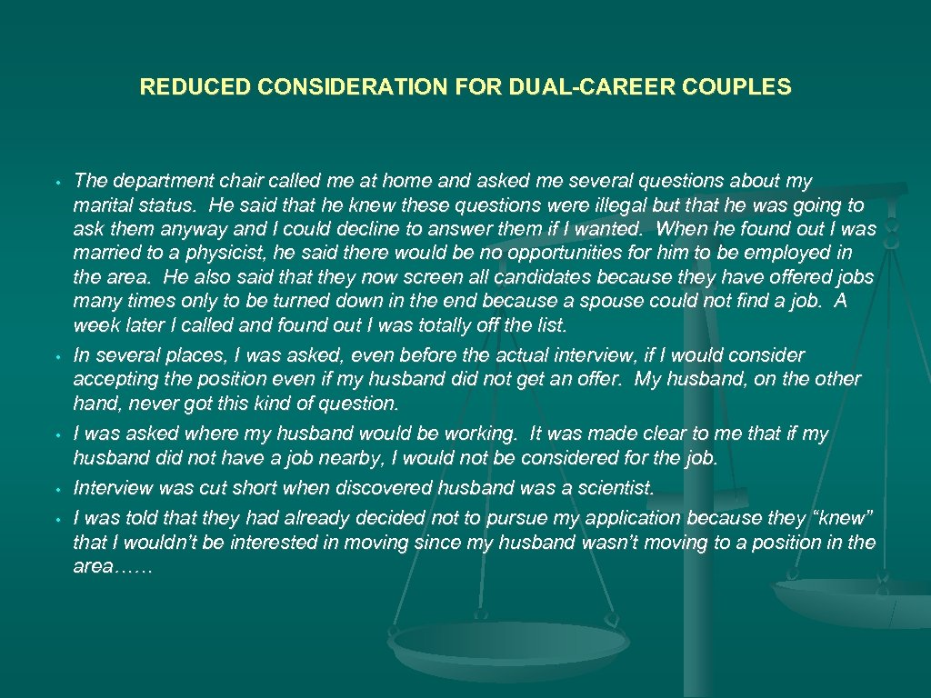 REDUCED CONSIDERATION FOR DUAL-CAREER COUPLES • • • The department chair called me at