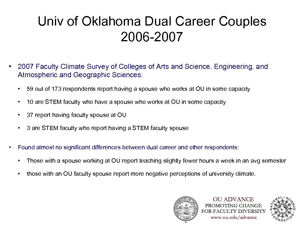Univ of Oklahoma Dual Career Couples 2006 -2007 • 2007 Faculty Climate Survey of