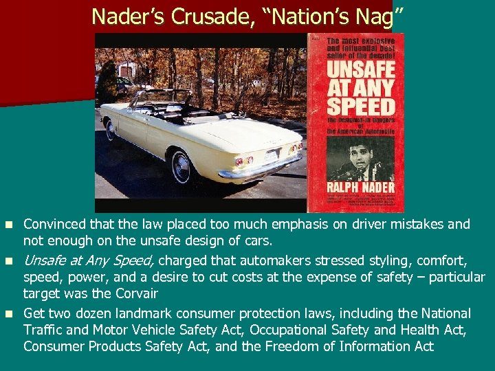 "Nader's Crusade, ""Nation's Nag"" Convinced that the law placed too much emphasis on driver"