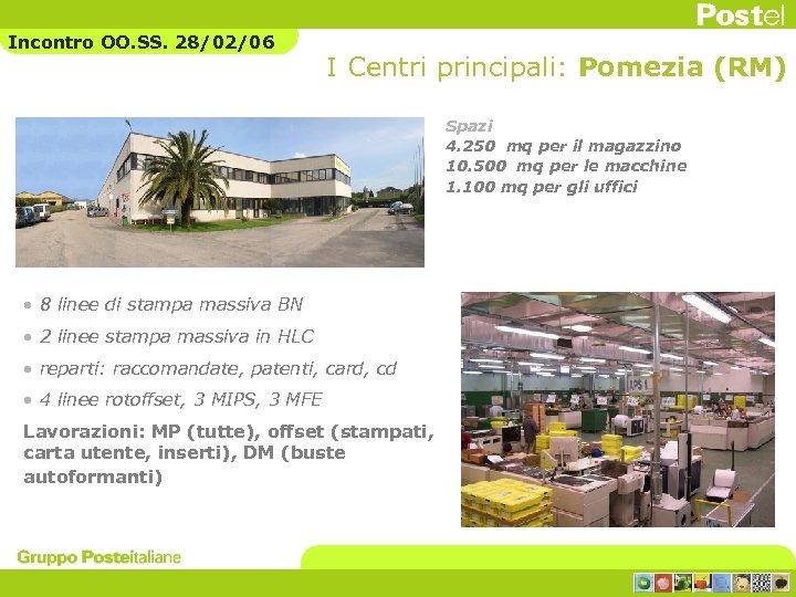 Incontro OO. SS. 28/02/06 I Centri principali: Pomezia (RM) Spazi 4. 250 mq per