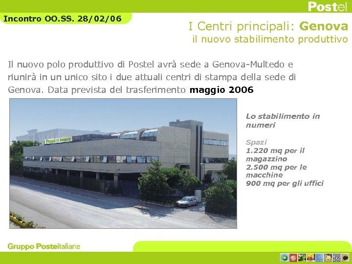 Incontro OO. SS. 28/02/06 I Centri principali: Genova il nuovo stabilimento produttivo Il nuovo