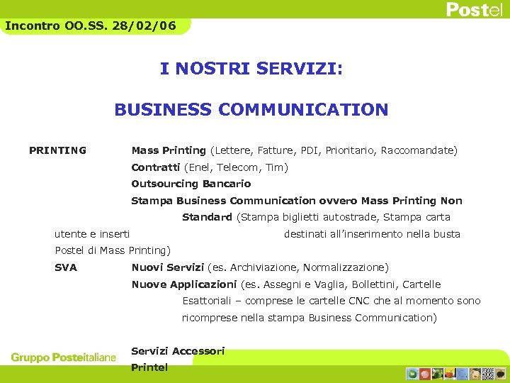 Incontro OO. SS. 28/02/06 I NOSTRI SERVIZI: BUSINESS COMMUNICATION PRINTING Mass Printing (Lettere, Fatture,