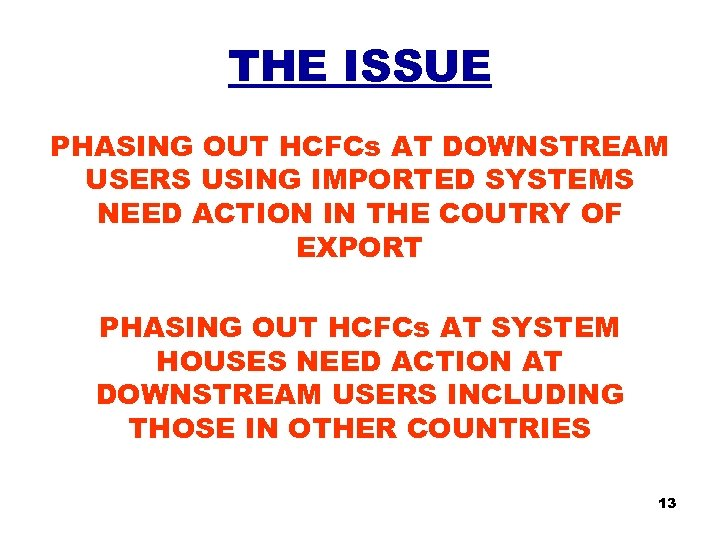 THE ISSUE PHASING OUT HCFCs AT DOWNSTREAM USERS USING IMPORTED SYSTEMS NEED ACTION IN