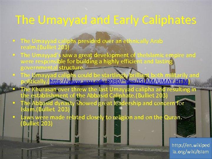 The Umayyad and Early Caliphates • The Umayyad caliphs presided over an ethnically Arab