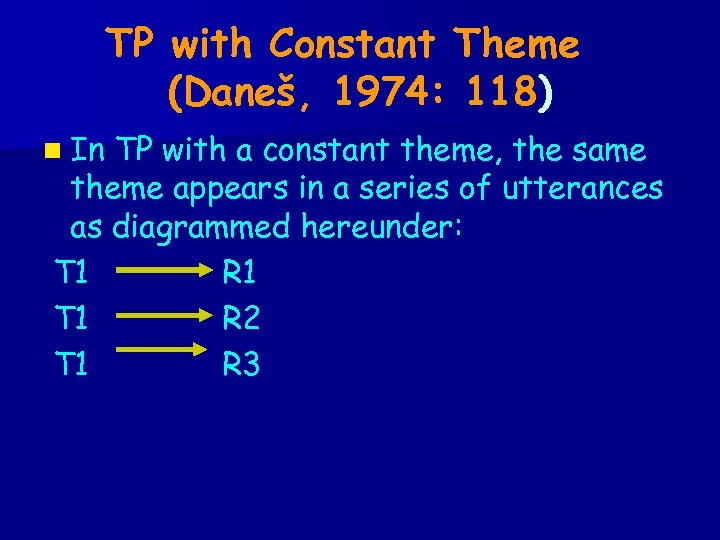 TP with Constant Theme (Daneš, 1974: 118) n In TP with a constant theme,