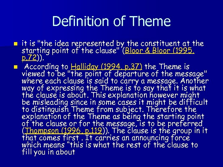 Definition of Theme it is