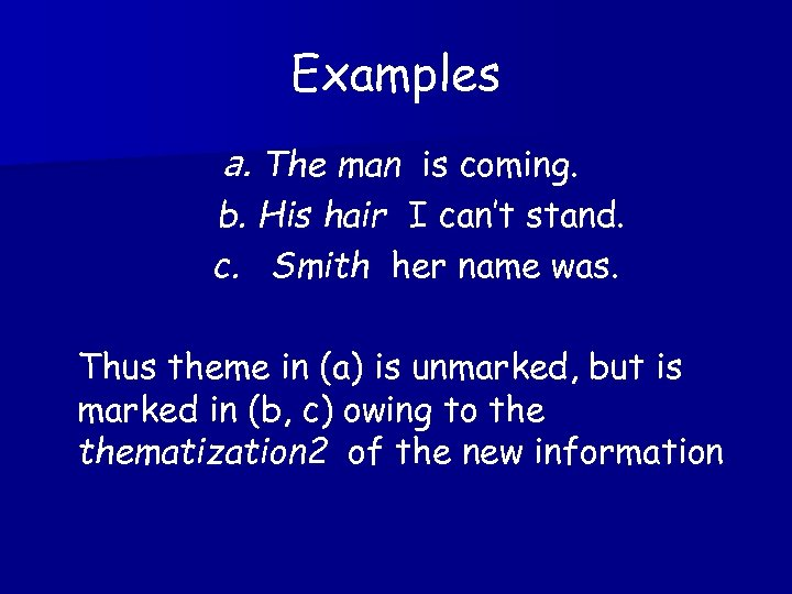 Examples a. The man is coming. b. His hair I can't stand. c. Smith