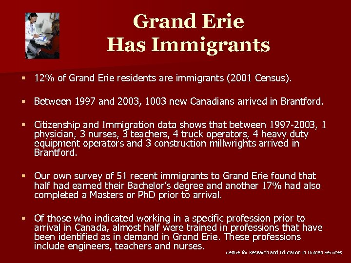 Grand Erie Has Immigrants § 12% of Grand Erie residents are immigrants (2001 Census).