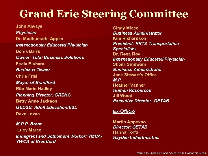Grand Erie Steering Committee John Always Physician Dr. Madhumathi Appea Internationally Educated Physician Denis