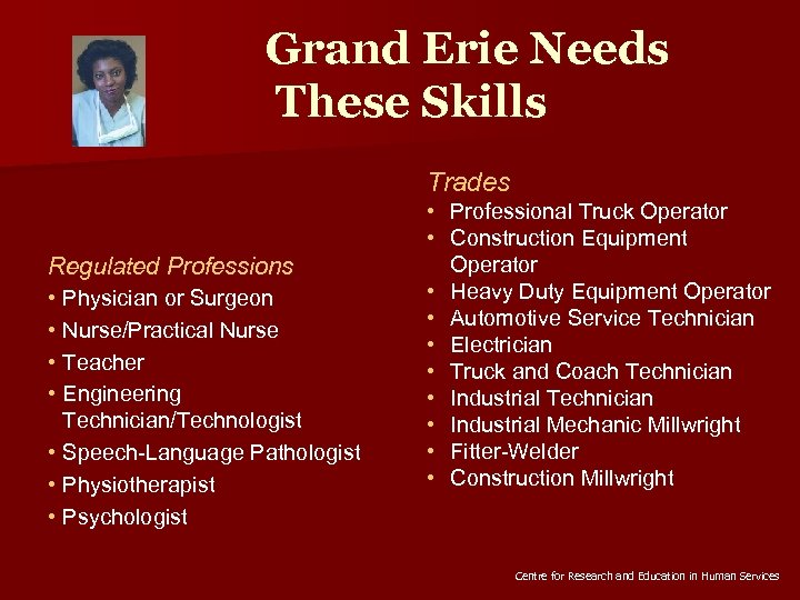 Grand Erie Needs These Skills Trades Regulated Professions • Physician or Surgeon • Nurse/Practical