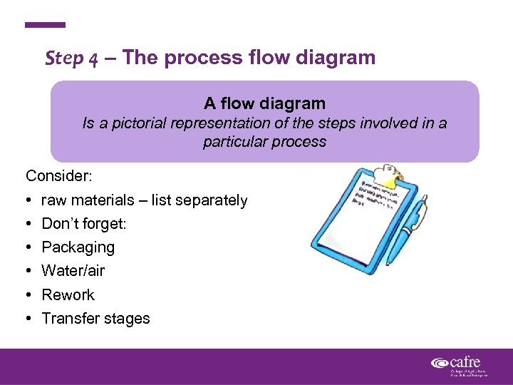 Step 4 – The process flow diagram A flow diagram Is a pictorial representation