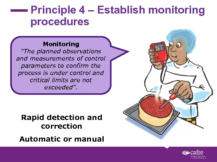 """Principle 4 – Establish monitoring procedures Monitoring """"The planned observations and measurements of control"""