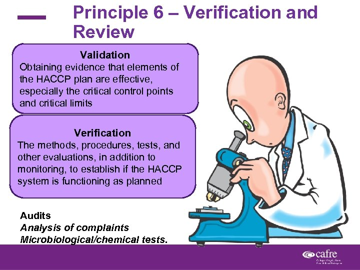 Principle 6 – Verification and Review Validation Obtaining evidence that elements of the HACCP
