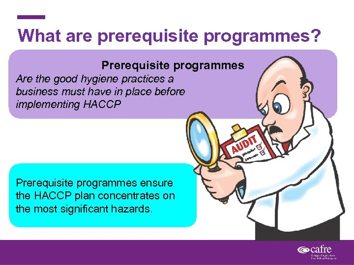 What are prerequisite programmes? Prerequisite programmes Are the good hygiene practices a business must
