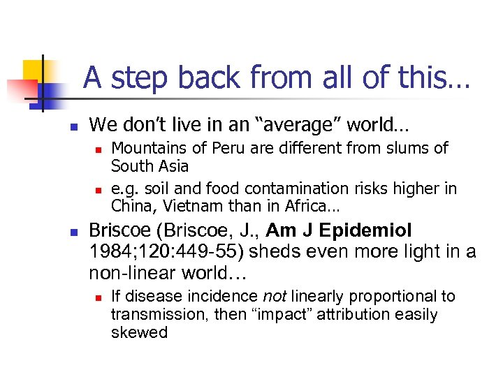 """A step back from all of this… n We don't live in an """"average"""""""