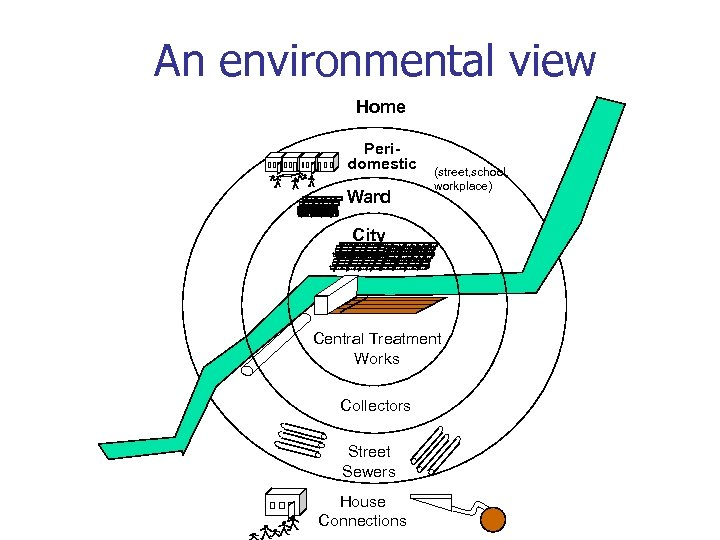 An environmental view Home Peridomestic Ward (street, school, workplace) City Central Treatment Works Collectors
