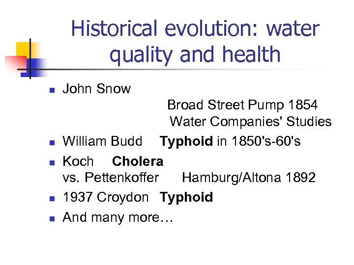 Historical evolution: water quality and health n n n John Snow Broad Street Pump