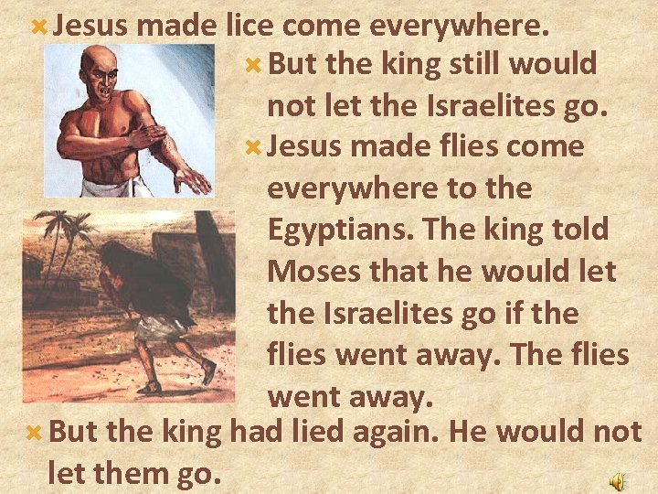 Jesus made lice come everywhere. But the king still would not let the