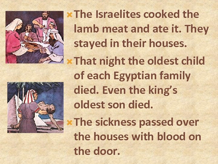 The Israelites cooked the lamb meat and ate it. They stayed in their