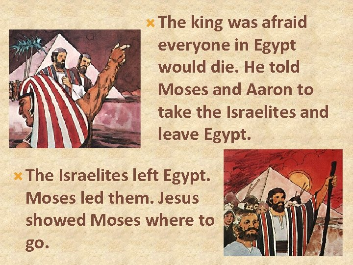 The king was afraid everyone in Egypt would die. He told Moses and