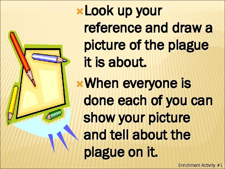 Look up your reference and draw a picture of the plague it is
