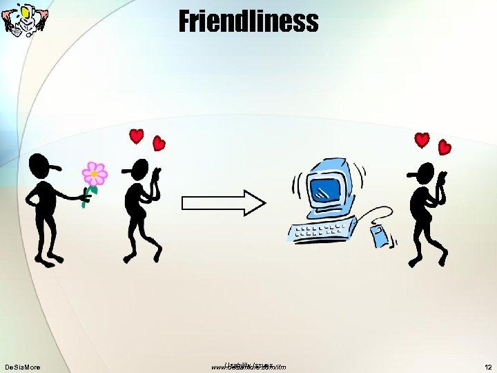 Friendliness De. Sia. More Usability Issues www. desiamore. com/ifm 12