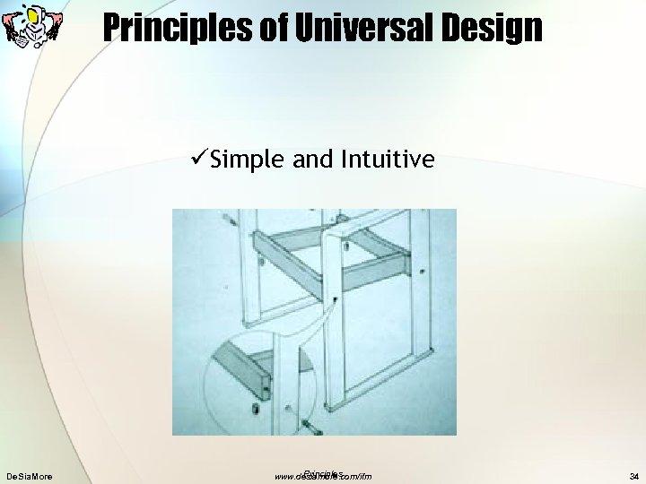 Principles of Universal Design üSimple and Intuitive De. Sia. More Principles www. desiamore. com/ifm