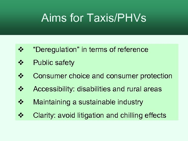 """Aims for Taxis/PHVs 2. The process for assessment v """"Deregulation"""" in terms of reference"""