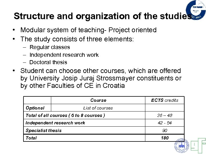 Structure and organization of the studies • Modular system of teaching- Project oriented •