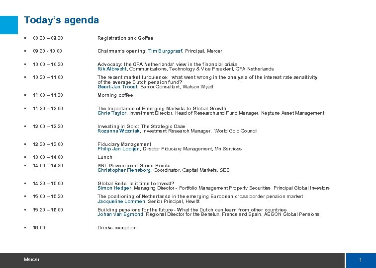 Today's agenda § 08. 30 – 09. 30 Registration and Coffee § 09. 30