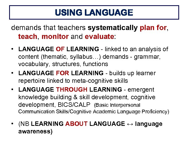 USING LANGUAGE demands that teachers systematically plan for, teach, monitor and evaluate: • LANGUAGE