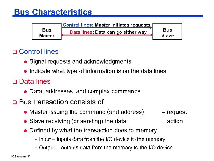 Bus Characteristics Bus Master q Control lines: Master initiates requests Data lines: Data can