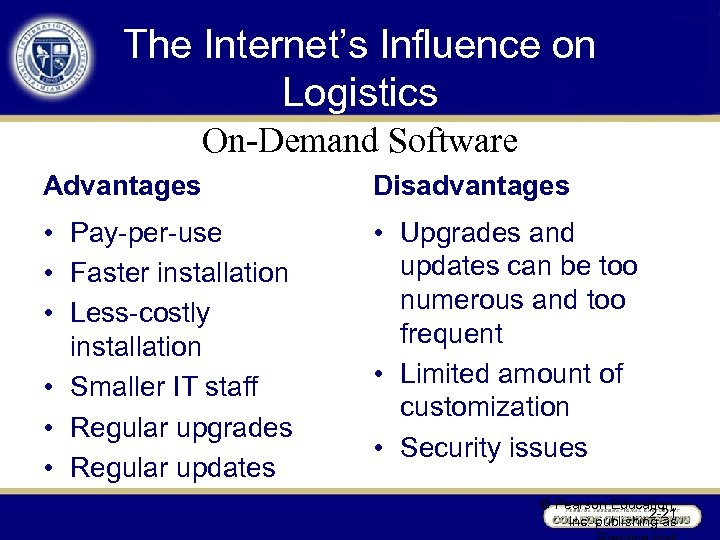 The Internet's Influence on Logistics On-Demand Software Advantages Disadvantages • Pay-per-use • Faster installation
