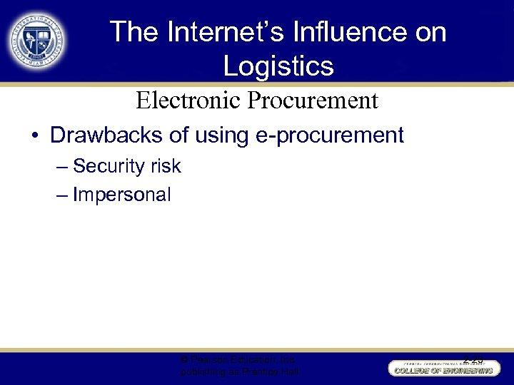 The Internet's Influence on Logistics Electronic Procurement • Drawbacks of using e-procurement – Security