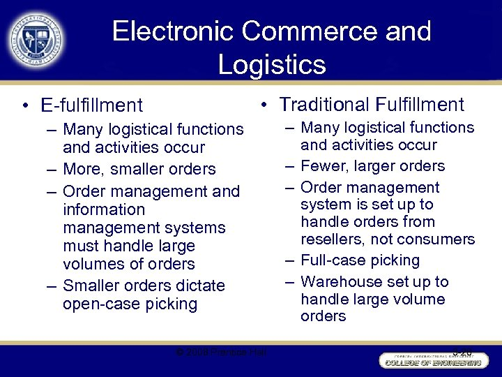 Electronic Commerce and Logistics • Traditional Fulfillment • E-fulfillment – Many logistical functions and