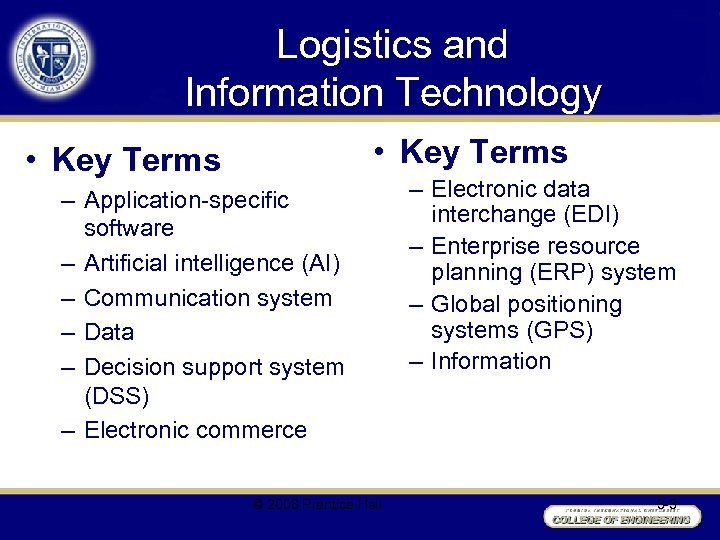 Logistics and Information Technology • Key Terms – Application-specific software – Artificial intelligence (AI)